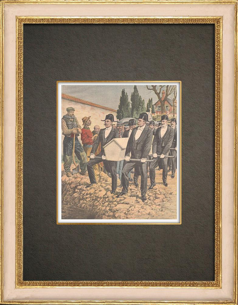 Antique Prints & Drawings   Burial of a victim by the Confrérie des Charitables de Saint-Éloi - Béthune - France - 1909   Wood engraving   1909