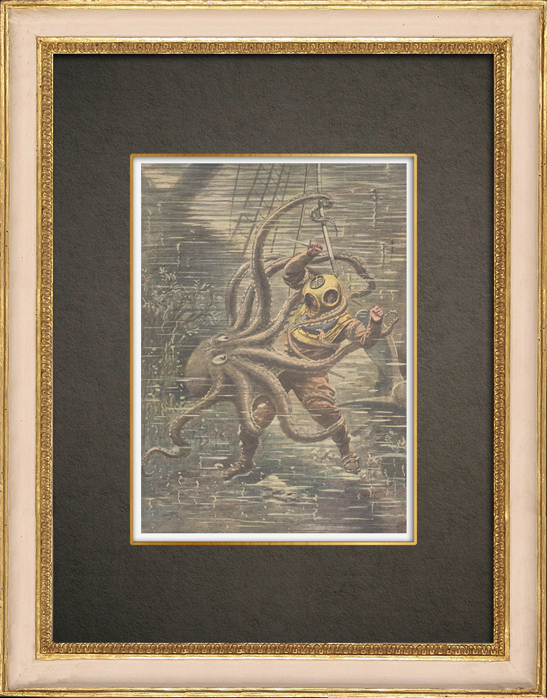 Antique Prints & Drawings   Fight of a man and an octopus - California - 1909   Wood engraving   1909