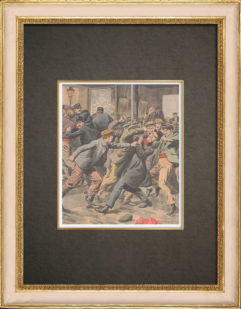 Antique Prints & Drawings   A policeman injured after a show in Aubervilliers - France - 1909   Wood engraving   1909