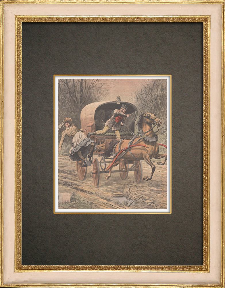 Antique Prints & Drawings | Bandit disguised as a woman attacks a farmer near Téteghem - France - 1909 | Wood engraving | 1909