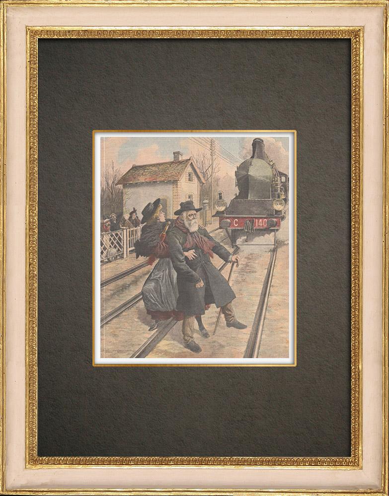 Stampe Antiche & Disegni | Un guardiano ucciso da un treno all'passaggio a livello di Saint-Fons - Francia - 1909 | Incisione xilografica | 1909