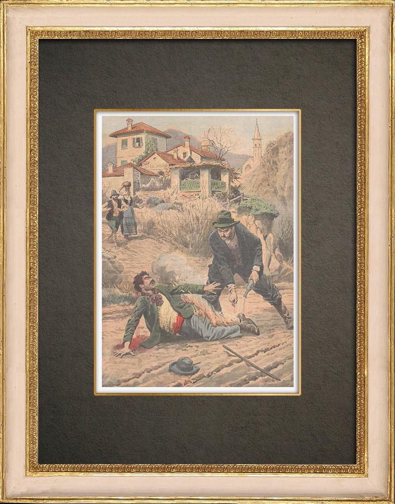 Stampe Antiche & Disegni | Vendetta a Oggebbio - Italia - 1909 | Incisione xilografica | 1909