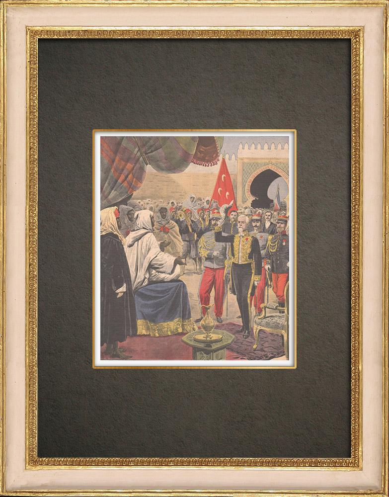 Stampe Antiche & Disegni | Accoglienza del Ministro di Francia da parte del Sultano del Marocco a Fes - Marocco - 1909 | Incisione xilografica | 1909