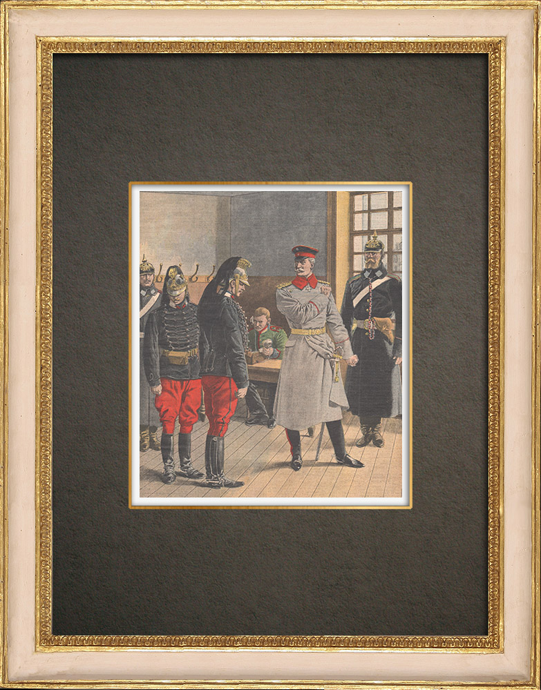 Antique Prints & Drawings   Patriotism lesson to two French deserters in Germany - 1909   Wood engraving   1909