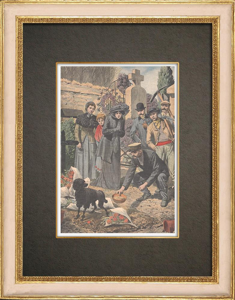 Stampe Antiche & Disegni | Fedeltà di un cane sulla tomba del suo padrone - Île-de-France - 1909 | Incisione xilografica | 1909