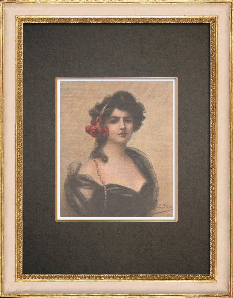 Stampe Antiche & Disegni | Ritratto di un'attrice di La Panthère Noire (Vallet-Bisson) | Incisione xilografica | 1909