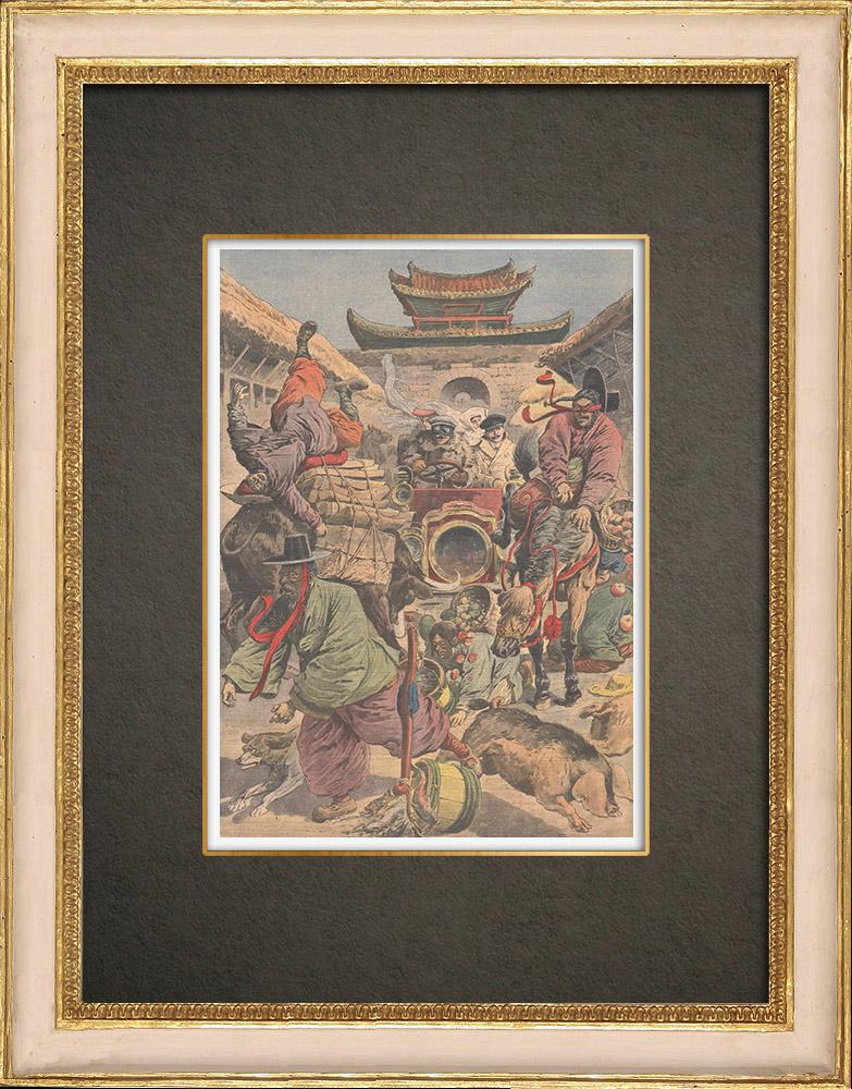 Stampe Antiche & Disegni | Panico all'arrivo della prima autovettura in Corea - 1909 | Incisione xilografica | 1909