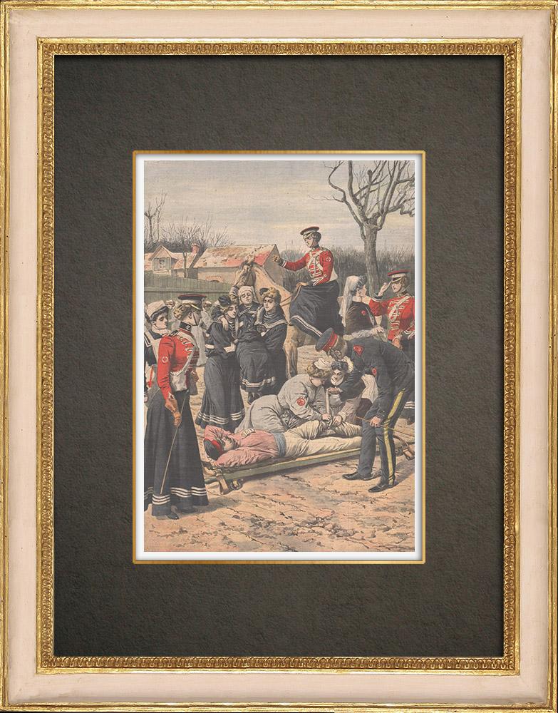 Stampe Antiche & Disegni | Esercitazioni degli paramedici volontari in Inghilterra - 1909 | Incisione xilografica | 1909