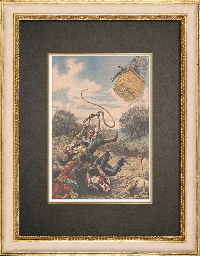 Stampe Antiche & Disegni | Uno dirigibile vicino ad Amburgo - Germania - 1909 | Incisione xilografica | 1909