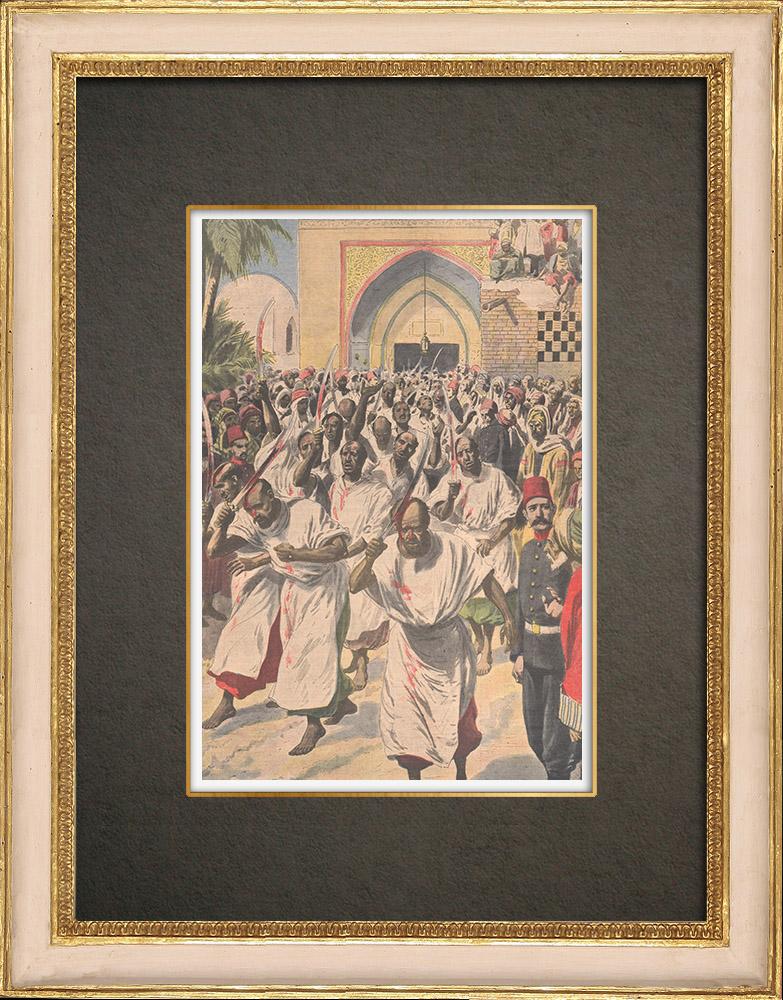 Stampe Antiche & Disegni | Fanatismo in un luogo di pellegrinaggio musulmano a Kerbala - Persia - 1909 | Incisione xilografica | 1909