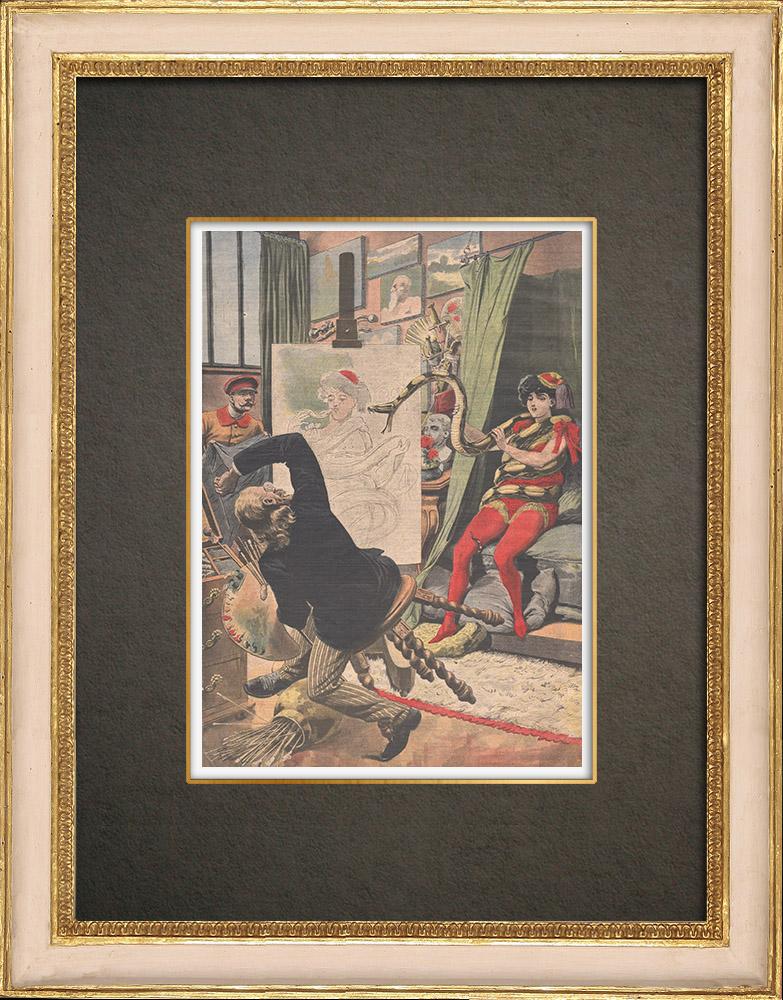 Antika Tryck & Ritningar | En målare attackerad av en boa i sin ateljén - Tyskland - 1909 | Träsnitt | 1909