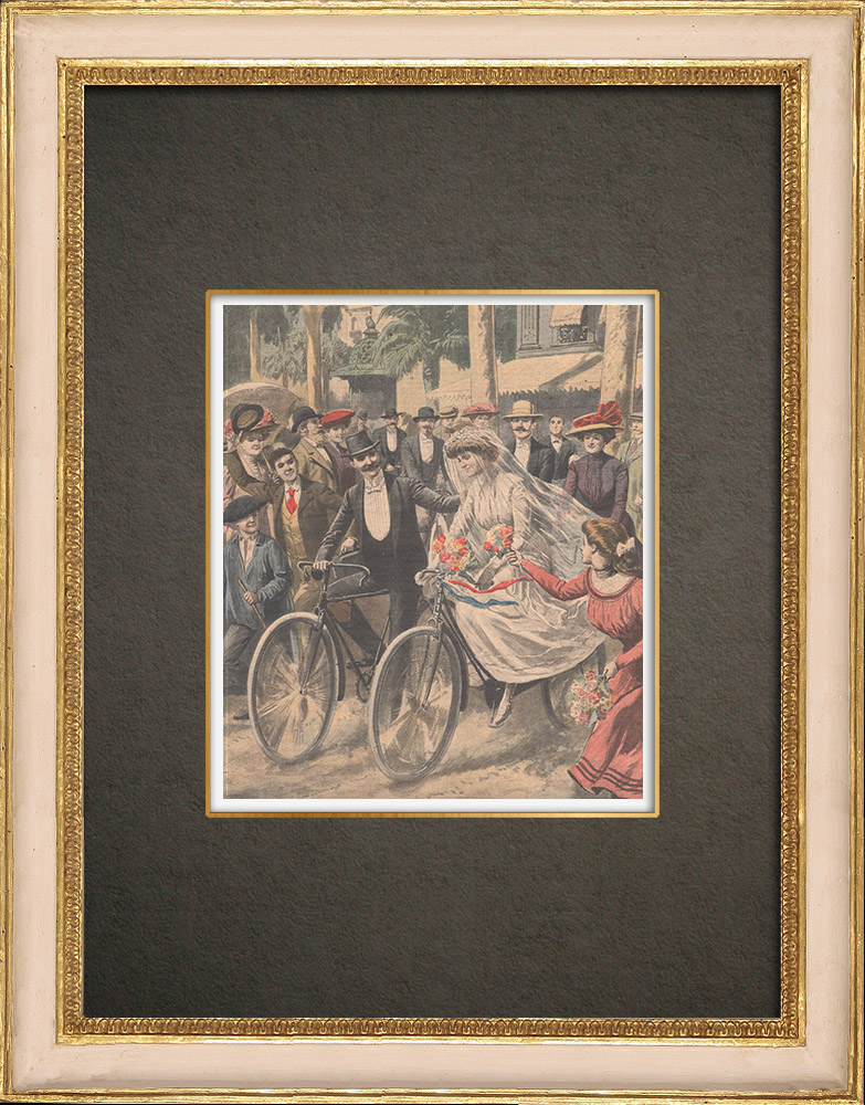 Antique Prints & Drawings | The bride and groom arriving at the town hall of Nice by bicycle - France - 1909 | Wood engraving | 1909