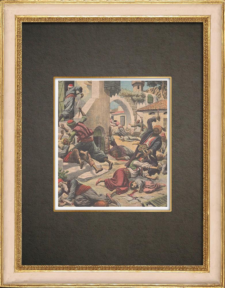 Stampe Antiche & Disegni | Cristiani armeni massacrati ad Adana - Turchia - 1909 | Incisione xilografica | 1909
