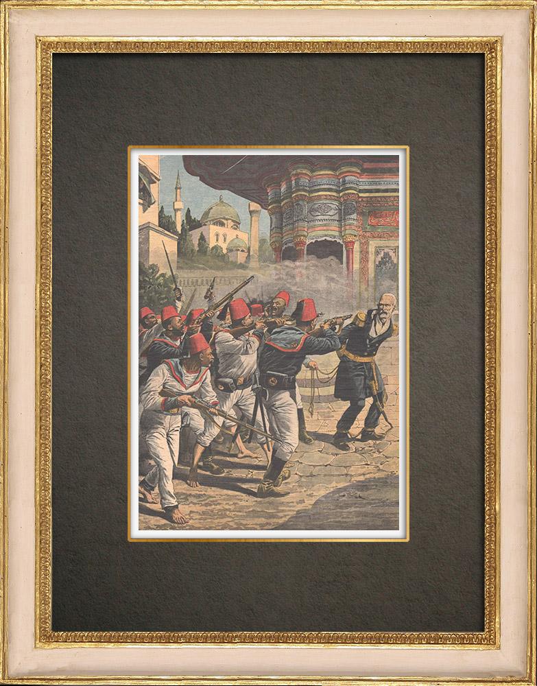 Stampe Antiche & Disegni | Controrivoluzione ottomana - Un ufficiale ucciso dai suoi marinai - Turchia - 1909 | Incisione xilografica | 1909