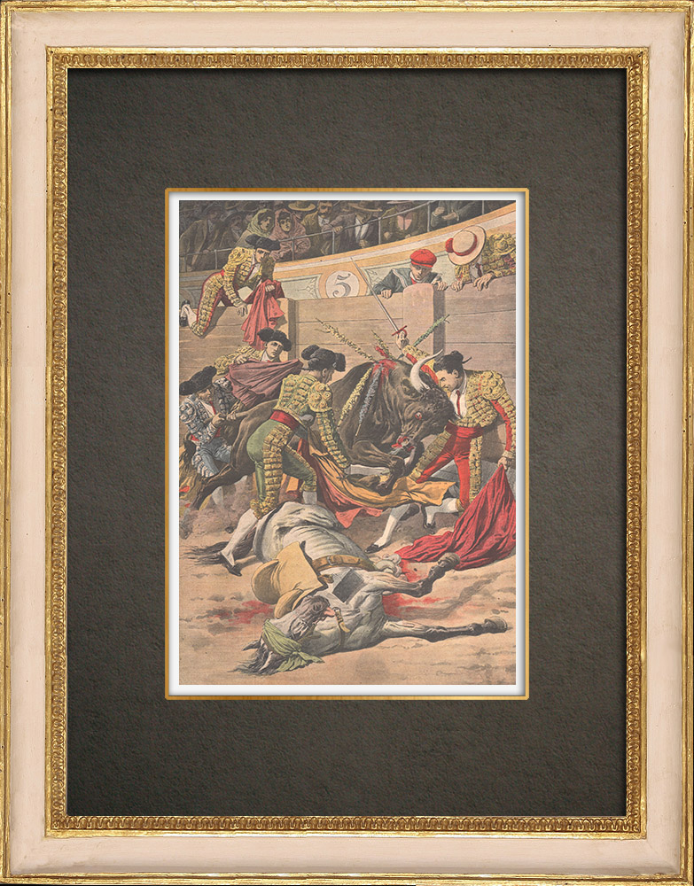 Antique Prints & Drawings | Tragic bullfight in Seville - Spain - 1909 | Wood engraving | 1909