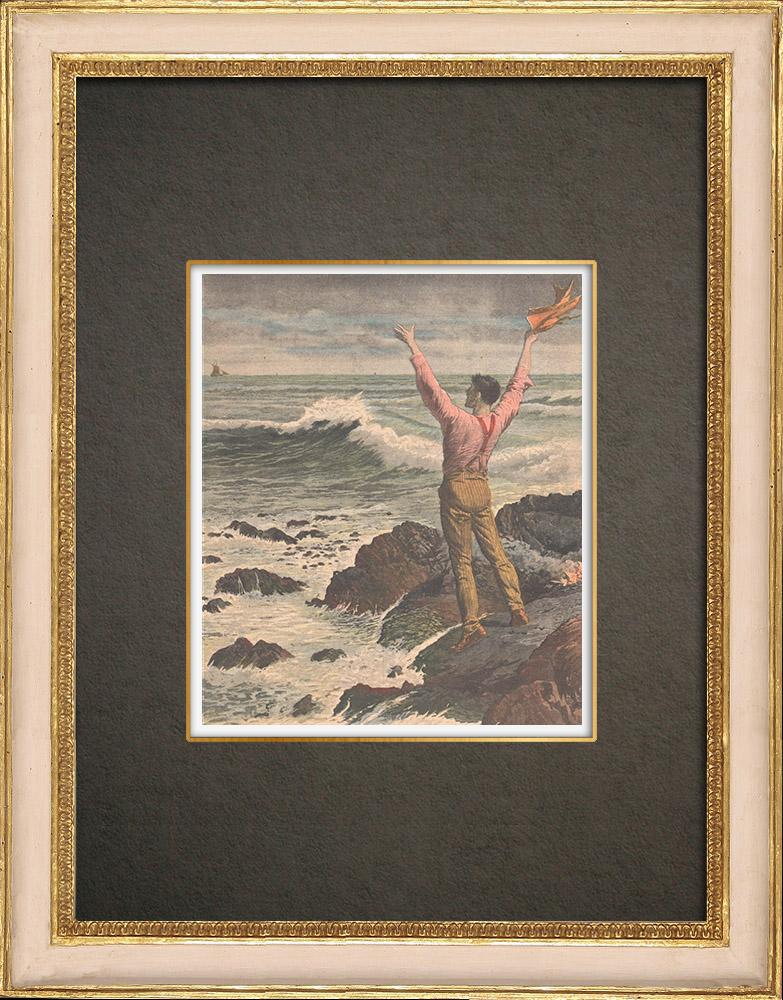 Stampe Antiche & Disegni | Un uomo normanno naufragato su una roccia presso le Minquiers - Jersey - 1909 | Incisione xilografica | 1909