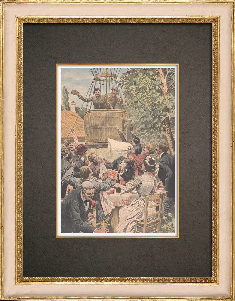 Stampe Antiche & Disegni | Un dirigibile atterra vicino a un banchetto di nozze a Louhans - Francia - 1909 | Incisione xilografica | 1909