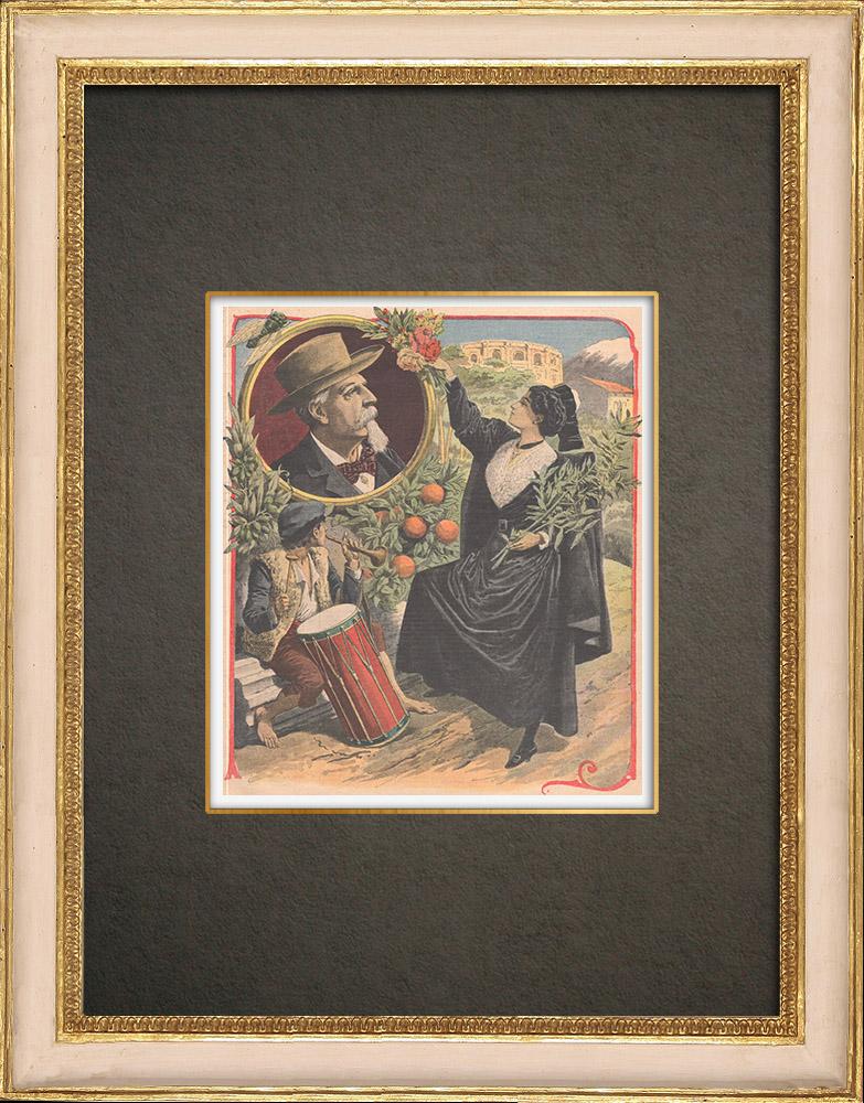 Stampe Antiche & Disegni | Frédéric Mistral - Salvaguardia della lingua occitana - Francia | Incisione xilografica | 1909