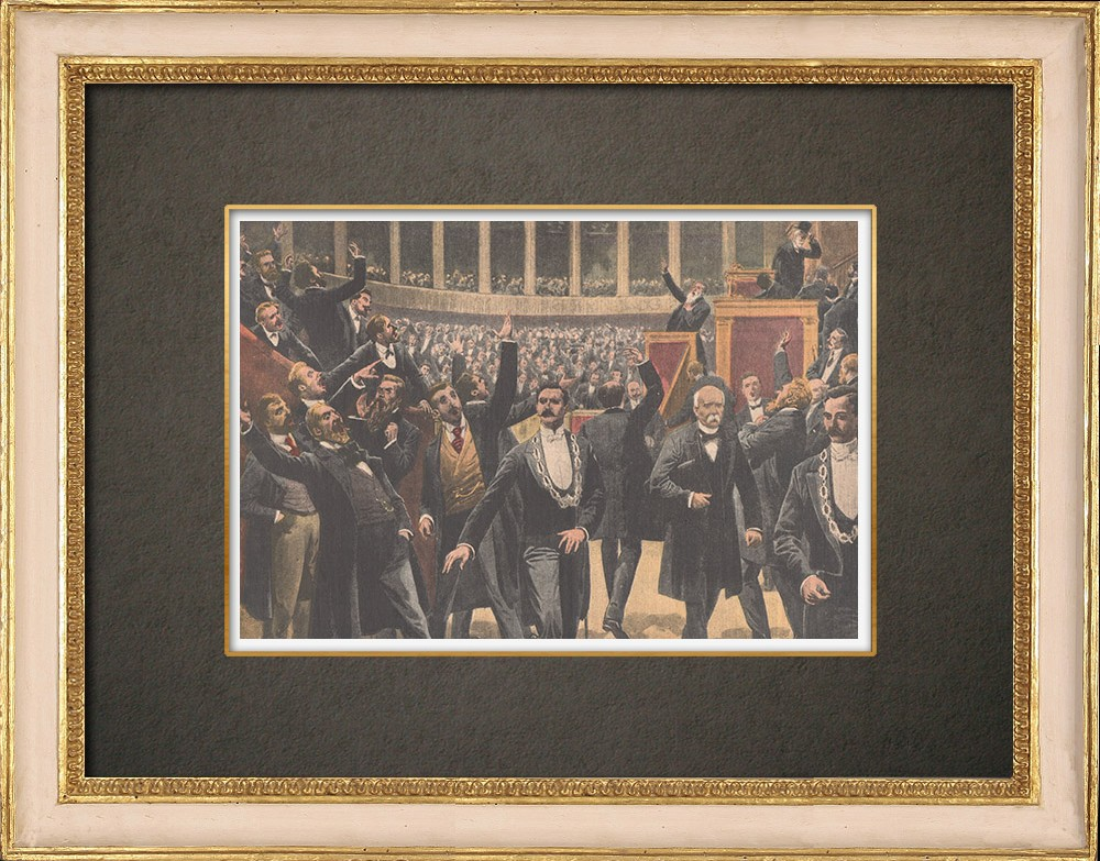 Antique Prints & Drawings | Deputies sing the Internationale at the National Assembly - Paris - 1909 | Wood engraving | 1909