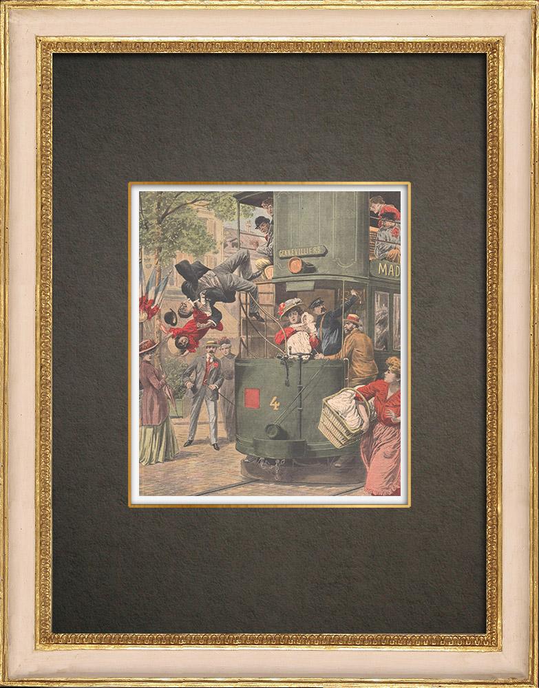 Stampe Antiche & Disegni | Incidente su un tram a Clichy - Francia - 1909 | Incisione xilografica | 1909