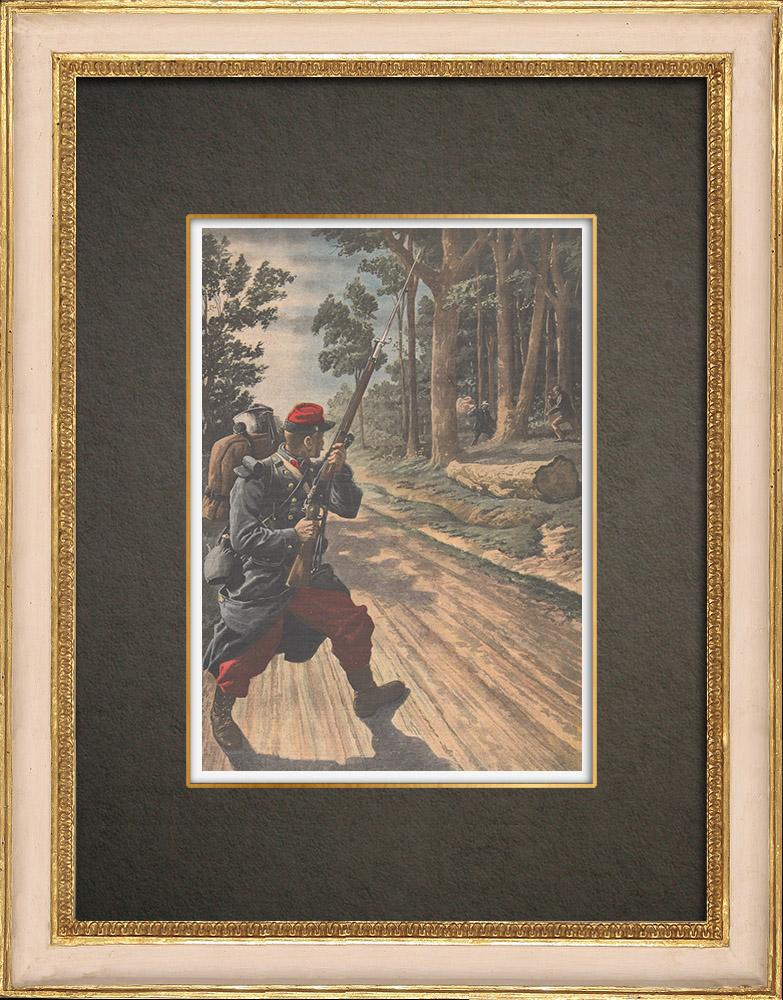Stampe Antiche & Disegni | Attacco a una sentinella a Bréau - Francia - 1909 | Incisione xilografica | 1909