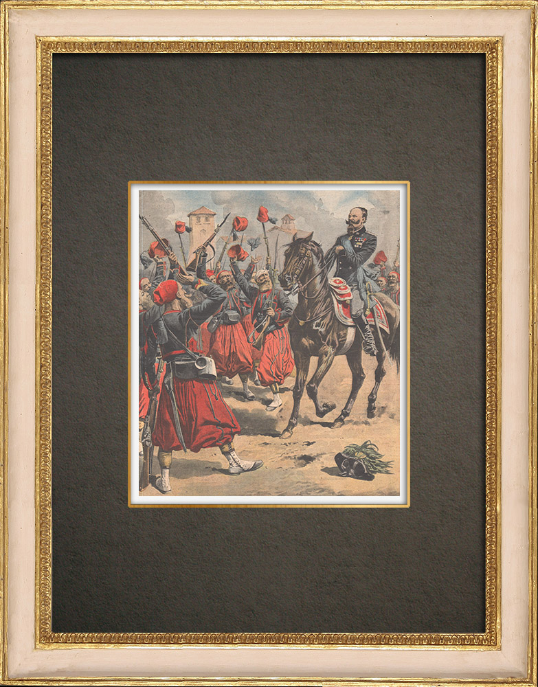 Antique Prints & Drawings   Victor Emmanuel II cheered by his soldiers at the battle of Palestro   Wood engraving   1909