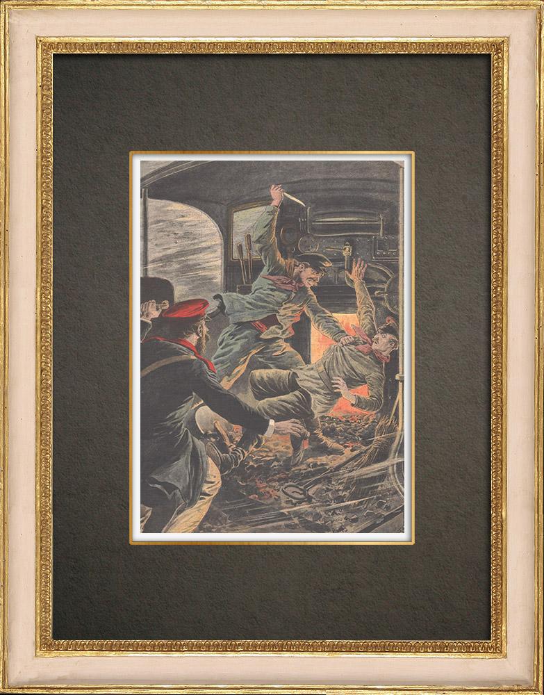 Stampe Antiche & Disegni | Un meccanico matto uccide il macchinista in Russia - 1909 | Incisione xilografica | 1909
