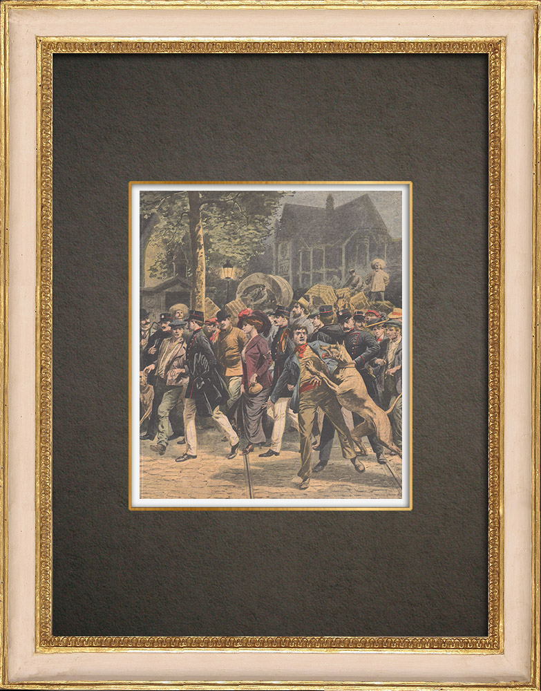 Antique Prints & Drawings | Police raid near the Halles in Paris - 1909 | Wood engraving | 1909