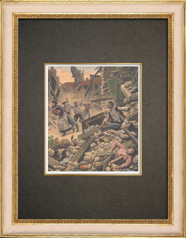 Antika Tryck & Ritningar | Jordbävning i södra Frankrike - 1909 | Träsnitt | 1909
