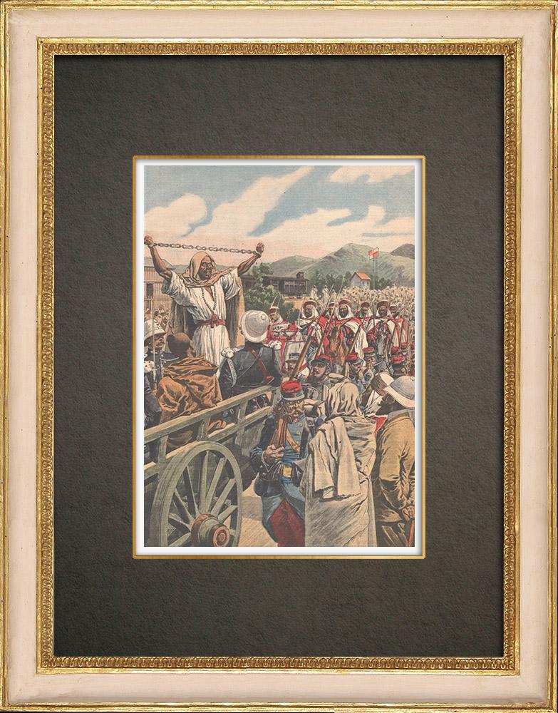 Antika Tryck & Ritningar | Tre avrättningar i Bossuet - Dhaya - Algeriet - 1909 | Träsnitt | 1909