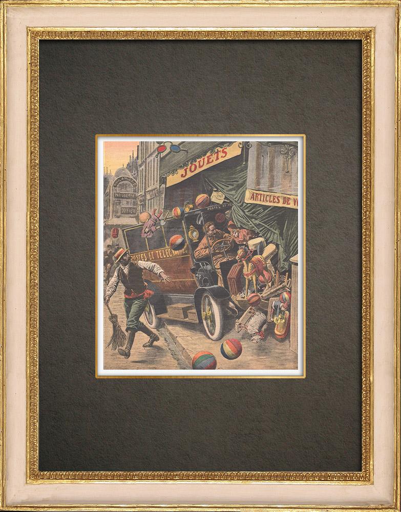 Stampe Antiche & Disegni | Le auto delle ufficio postale seminano terrore a Parigi - Francia - 1909 | Incisione xilografica | 1909