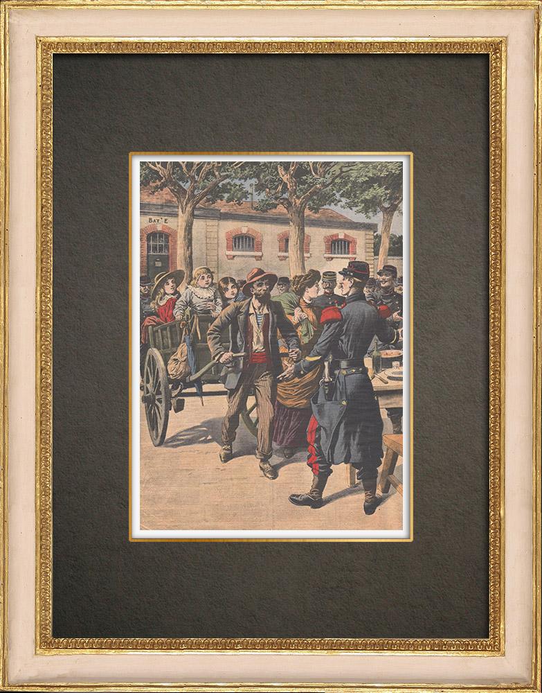 Stampe Antiche & Disegni | Arrivo dei riservisti alla caserma Dode a Grenoble - Francia - 1909 | Incisione xilografica | 1909