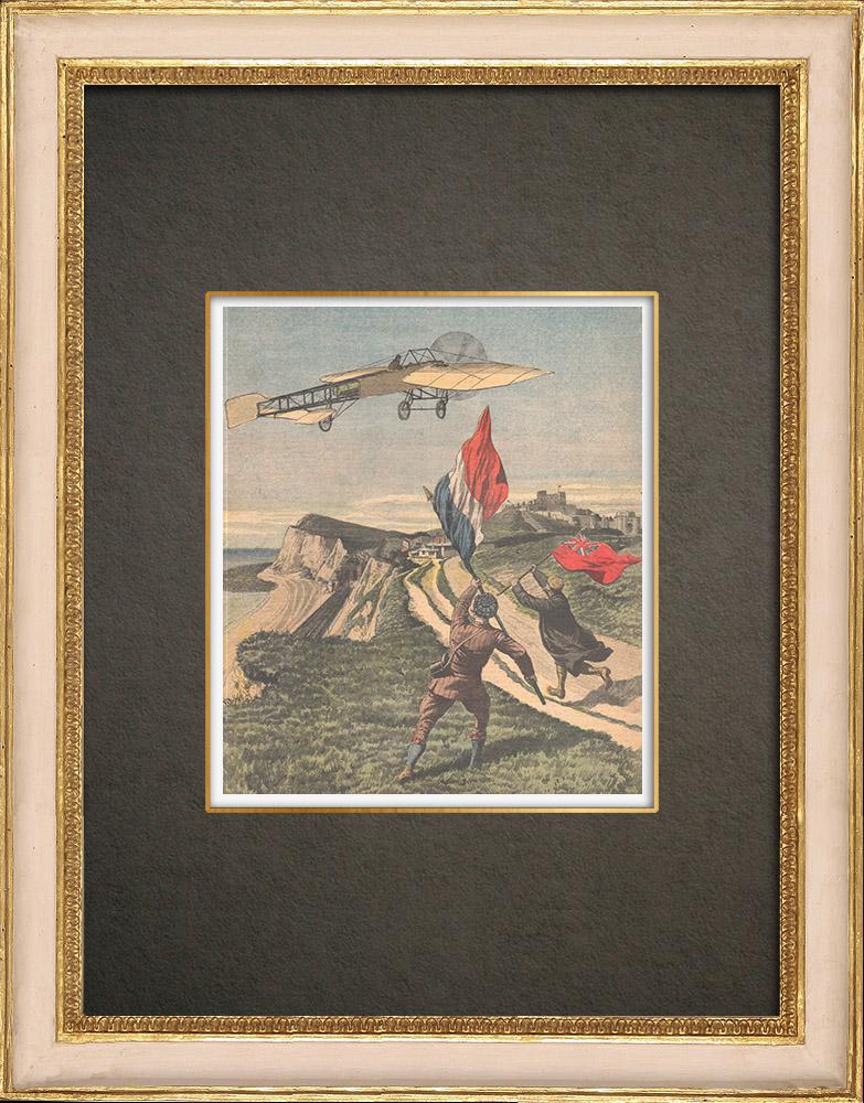 Stampe Antiche & Disegni | Louis Blériot attraversa la Manica e atterra a Dover - Inghilterra - 1909 | Incisione xilografica | 1909