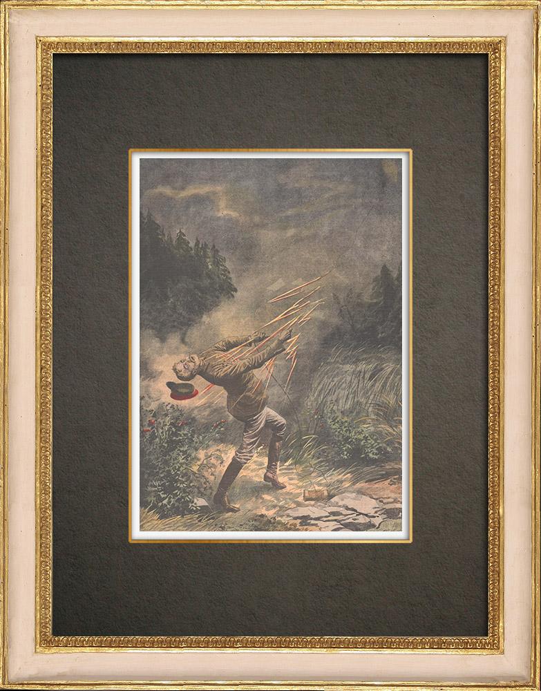 Stampe Antiche & Disegni | Un ufficiale di marina ucciso da un fulmine mentre pilotava un aquilone a Christiania - Norvegia - 1909 | Incisione xilografica | 1909
