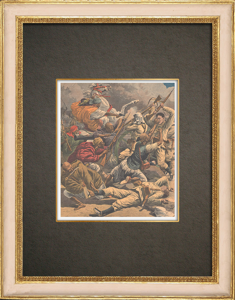 Antika Tryck & Ritningar | Striden mot det spanska artilleriet mot Rif Moors i Melilla - Spanien | Träsnitt | 1909