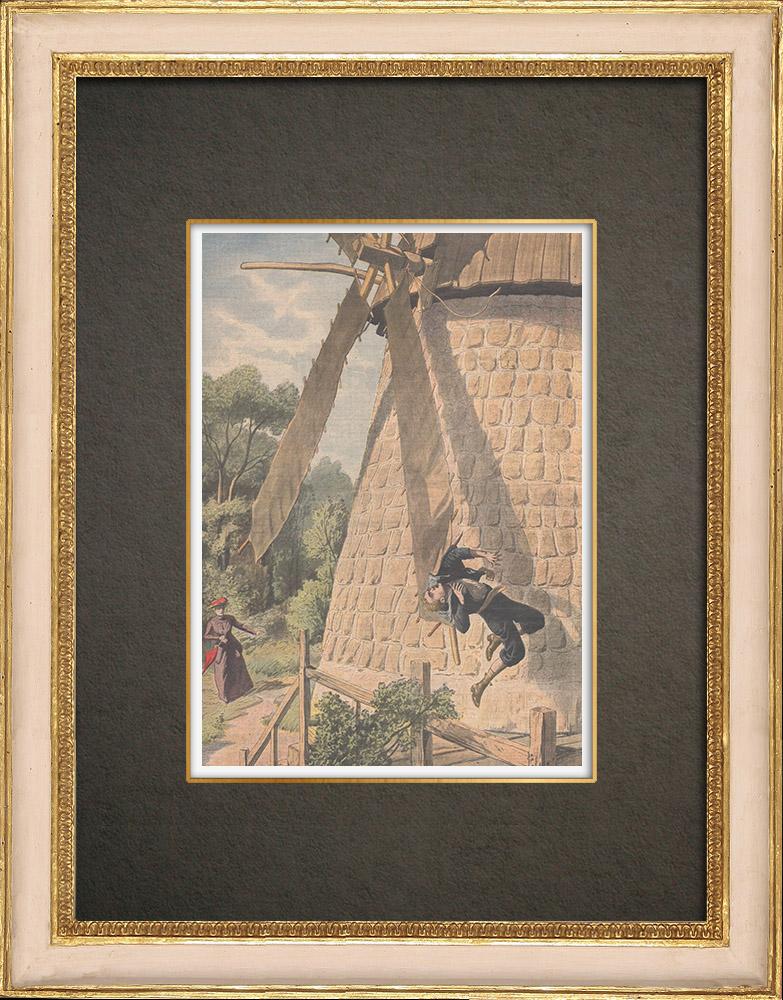 Stampe Antiche & Disegni | Un bambino ucciso dall'ala di un mulino in Prussia - 1909 | Incisione xilografica | 1909