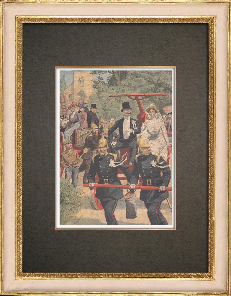 Antique Prints & Drawings | Bildeston firemen' wedding procession - England - 1909 | Wood engraving | 1909