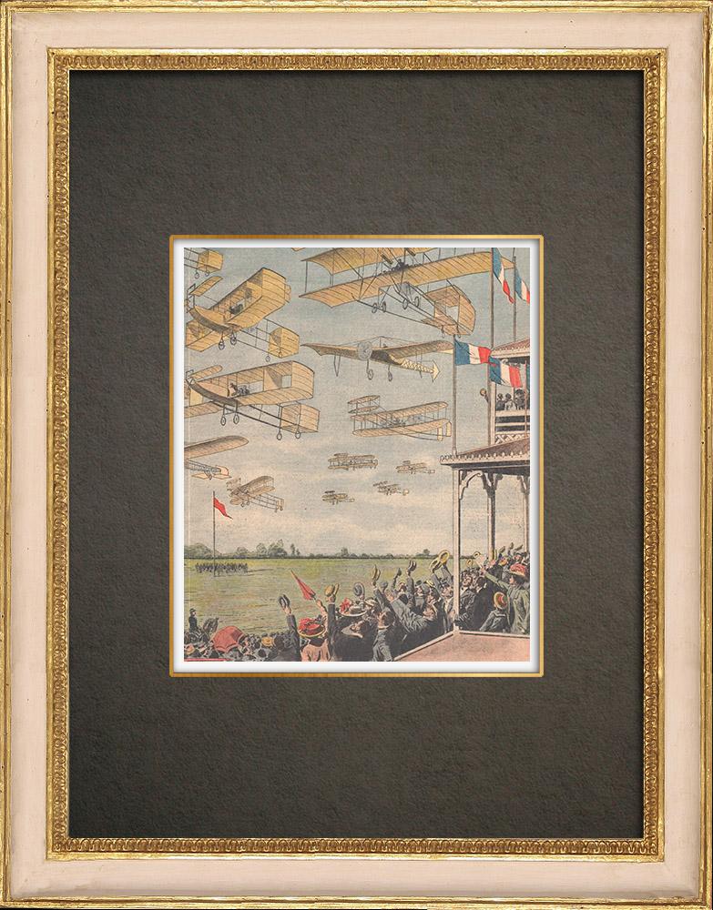 Stampe Antiche & Disegni   Grande Semaine d'aviation - Dimostrazione aeronautica a Betany - Francia - 1909   Incisione xilografica   1909