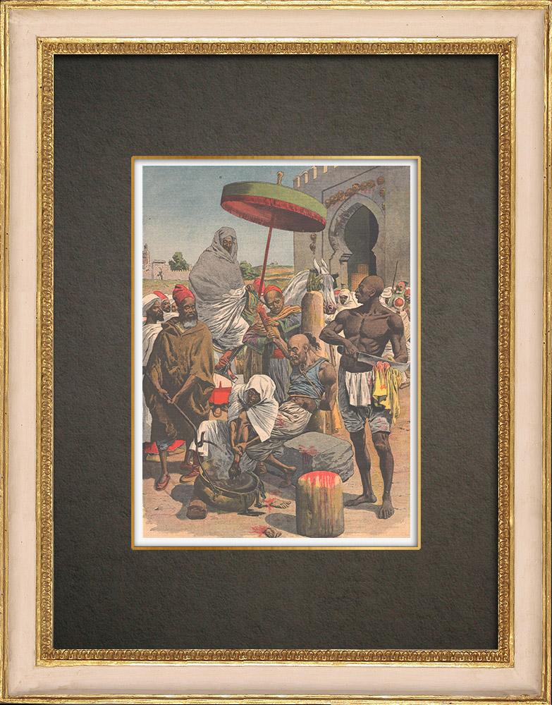 Stampe Antiche & Disegni | Il sultano Mulay Hafid sta torturando i sostenitori di Rogui a Fes - Marocco - 1909 | Incisione xilografica | 1909