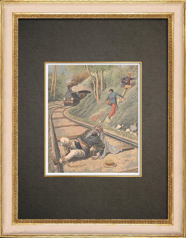 Stampe Antiche & Disegni | Un postino legato e lasciato su una ferrovia da ladri a Villeneuve-lès-Avignon - Francia - 1909 | Incisione xilografica | 1909
