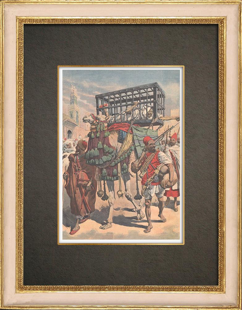 Stampe Antiche & Disegni | Rogui prigioniero arriva in gabbia al palazzo del sultano Moulay Hafid a Fes - Marocco - 1909 | Incisione xilografica | 1909