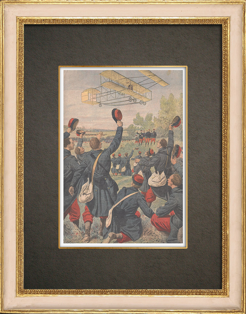 Antique Prints & Drawings | Sommer airplane flies over a military parade in the East of France - 1909 | Wood engraving | 1909