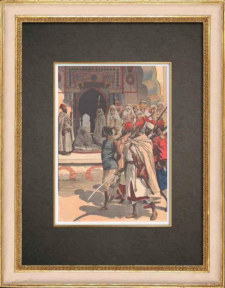 Stampe Antiche & Disegni | Il sultano Moulay Hafid Rogui sta uccidendo a Fes - Marocco - 1909 | Incisione xilografica | 1909
