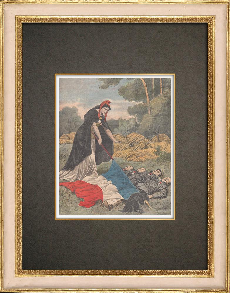 Stampe Antiche & Disegni | Il dirigibile République cade a Trevolo - Francia - 1909 | Incisione xilografica | 1909