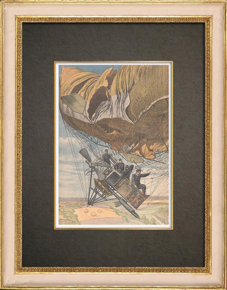 Grabados & Dibujos Antiguos | El dirigible République cae en Trévol - Francia - 1909 | Grabado xilográfico | 1909