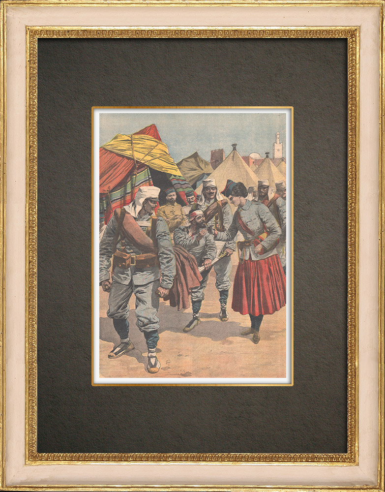 Antique Prints & Drawings | A canteen during the Morocco campaign - 1909 | Wood engraving | 1909