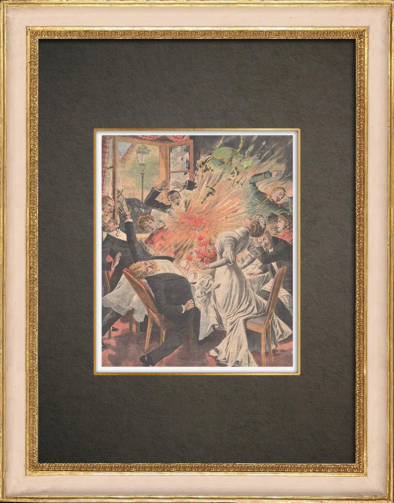 Stampe Antiche & Disegni | Una bomba è caduta su un banchetto di nozze a Riemke - Germania - 1909 | Incisione xilografica | 1909