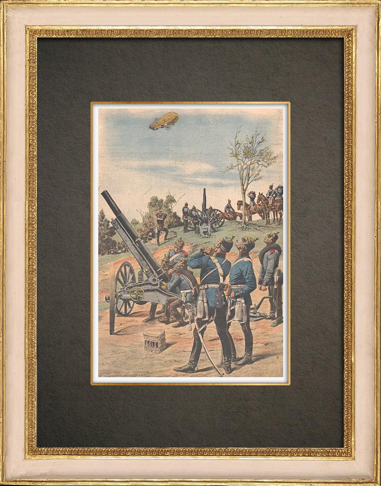 Stampe Antiche & Disegni | Costruzione di un cannone contro dirigibili a Meppen - Germania - 1909 | Incisione xilografica | 1909