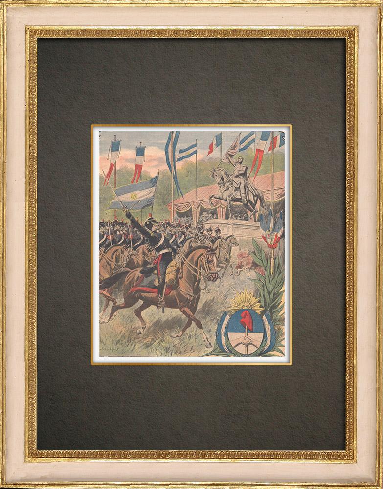 Stampe Antiche & Disegni | Inaugurazione delle monumento a José de San Martín a Boulogne-sur-mer - Francia - 1909 | Incisione xilografica | 1909