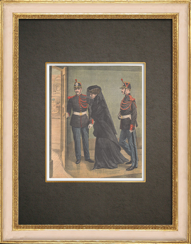 Antique Prints & Drawings | Trial of Marguerite Steinheil in Courthouse of Paris - France - 1909 | Wood engraving | 1909